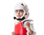 4-Year-Old Boy Wearing Karate Sparring Gear