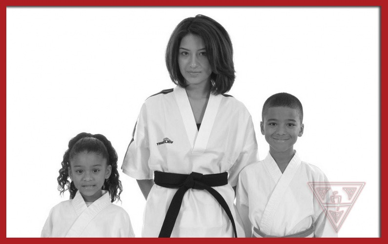 Family Learning Karate Together