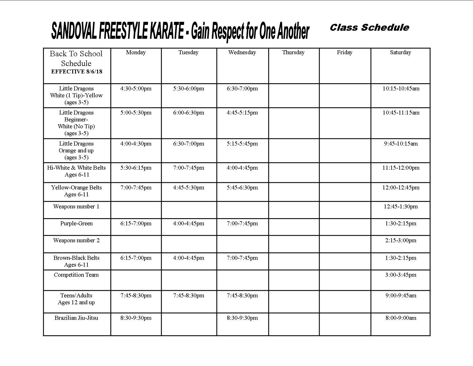 Gilbert Class Schedule
