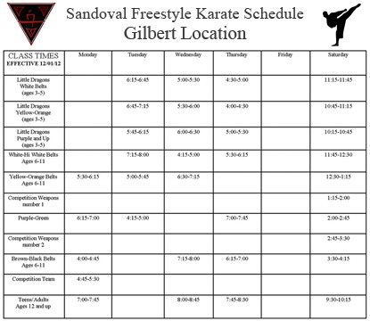 Gilbert Karate Schedule