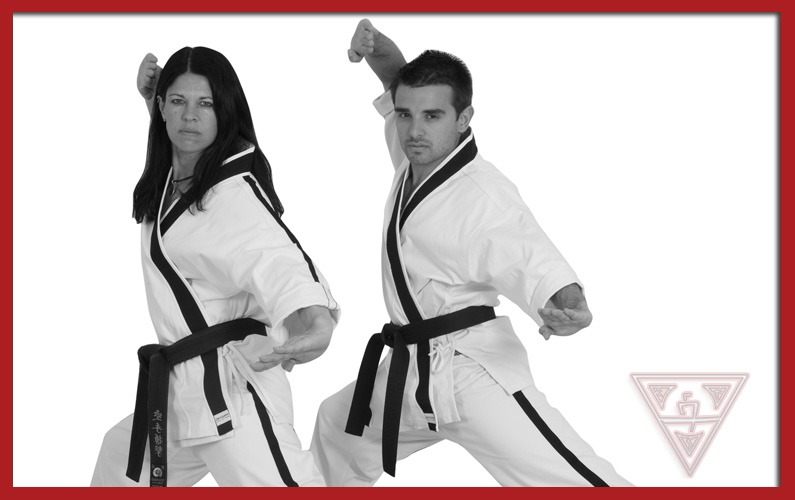Two Students Practicing Karate Katas