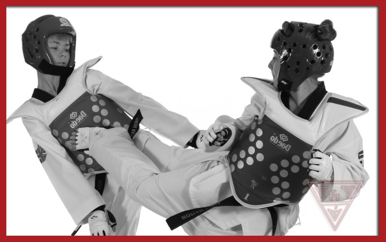 Young Taekwondo Students Point Sparring